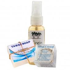 Акция «Tawas Crystal» «Соло-Экстра» в корзинке и пластиковой коробке +Мыло кокосовое на квасцах+кокосовое масло.